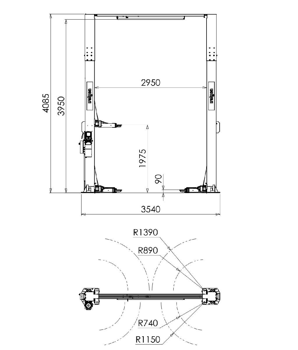 Подъемник двухстоечный 4EC1300X, г/п 4,5т.