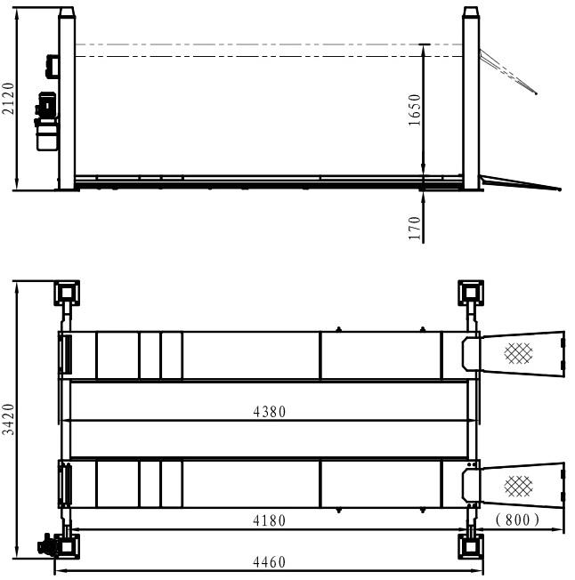 Подъемник четырехстоечный TFA4500-3D (без траверсы)