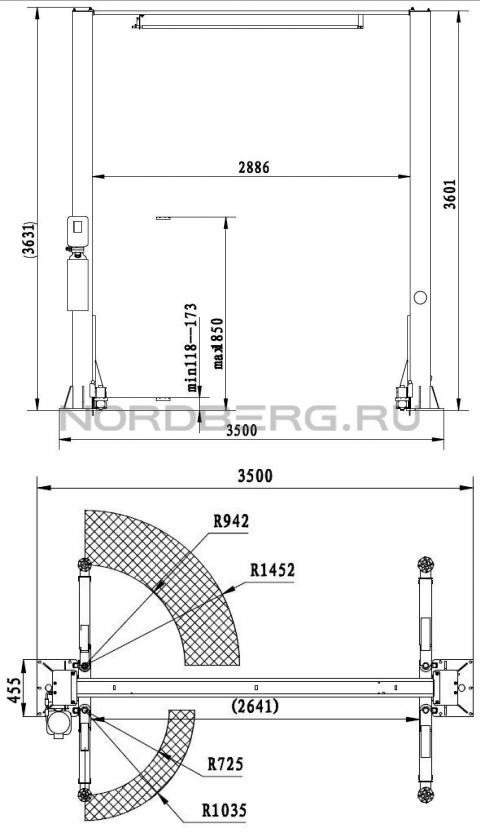 Подъемник двухстоечный 4120H2-4T