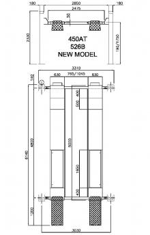 Подъемник четырехстоечный гидравлический 450AT(OMA526B) (без траверсы), г/п 4 т.